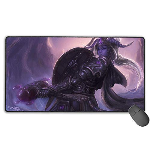 Large Gaming Mouse Pad World of Warcraft Draenei Horns Paladin Waterproof Non-Slip Rubber Anti Slip Rubber Base 15.8X35.5 in(40Cm X 90Cm)