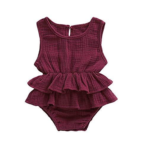 Bebé Niña Sin Mangas Volantes Mameluco Recién Nacido Bebé O-Cuello Algodón Y Lino Color Sólido Traje Conjuntos - rosa - 0-3 meses