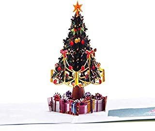Pop Up Christmas Cards Upgrated 3D Christmas Holiday Card With Envelope Handmade Happy New Year Cards (Picture Color)