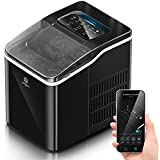 Snoworld Ice Maker Machine Countertop, with App Remote Control and Self-Cleaning Function, 9 Bullet Ice Cubes Ready in 8 Minutes, 26lbs Ice Cubes in 24H, Portable Ice Maker with Ice Scoop and Basket