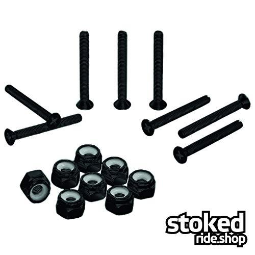 Stoked Ride Shop Black Stainless Steel Skateboard Hardware Set (Flat Phillips, 1.5