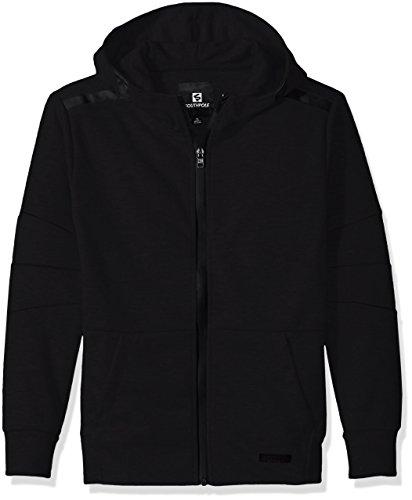 Southpole Boys' Big Tech Fleece Hooded Fullzip with Zipper Details, Black, Small