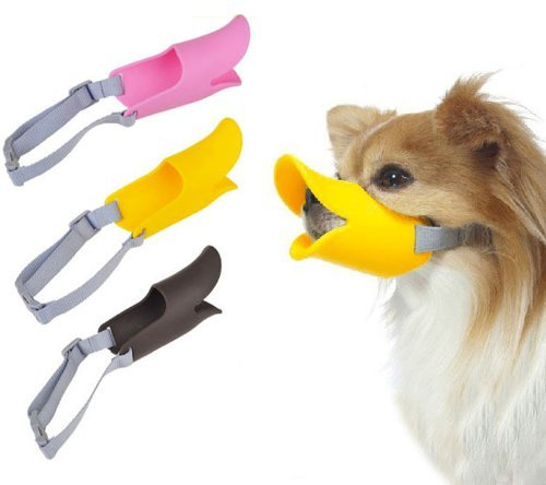 GigaMax(TM 3 Sizes 3 Color Soft Silicone Dog Duck Muzzle Pet Protection Duckbilled Mask Respirator for Chihuahua Teddy Animal
