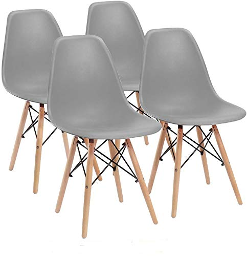 ArtDesign FR Sillas laterales de mediados de siglo con patas de madera de haya para cocina, comedor, sala de estar, juego de 4 (gris)