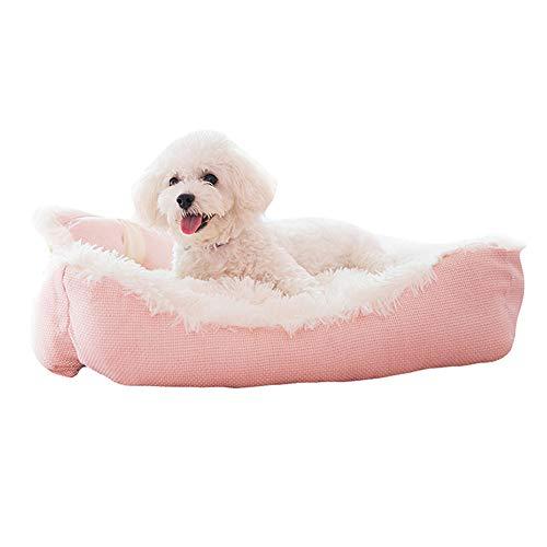 SHPEHP Deluxe Pet Bed, IKEA Pet Bed Cama para Perros con Cuddly Plush cálida Cama para Mascotas de Felpa Cuddler Pet Bed Perros medianos y Grandes Perros Transpirables-Pink-L