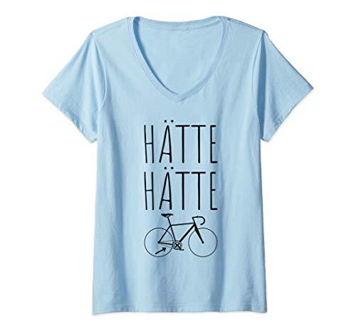 Damen Hätte Hätte Fahrradkette T-Shirt Radfahrer Spruch Rennrad T-Shirt mit V-Ausschnitt
