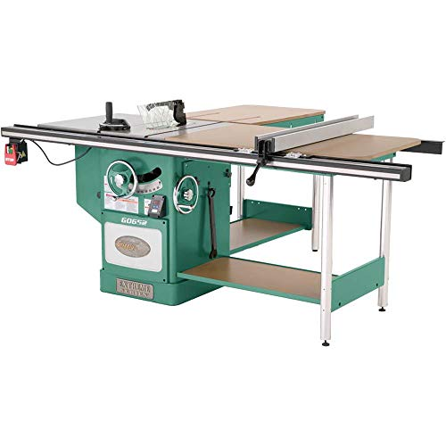 Grizzly Industrial G0652-10' 5 HP 3-Phase Heavy-Duty Cabinet Table Saw with Riving Knife