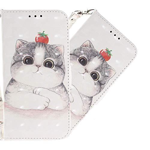 LEMAXELERS LG K52 / LG K42 Hülle,LG K52 Handyhülle Glitzer 3D Cute Cat Flip Hülle PU Leder Cover Magnet Schutzhülle Tasche Ständer Handytasche für LG K52,TX Tomato Cat