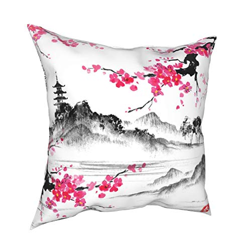 XChicShop 18x18 Throw Pillow Covers Set of 4 Japanese Oil Painting Cherry Blossom Decorative Couch Pillow Cases Cushion Cover Sofa Soft Standard Zip Square Patterned Pillowcase for Kids Women Men