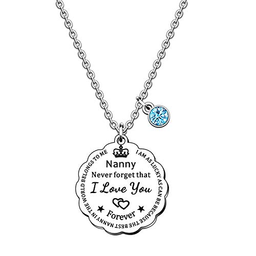 SMARGO Best Nanny Necklace Gifts Nana Grandma Birthday Christmas Jewellery Presents From Grandchildren Grandson Granddaughter I Am As Lucky As Can Be The Best Nanny In The World Belongs To Me