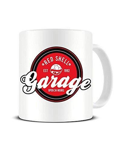 N\A Red Shell Garage EST 1992 - Mario Kart - Super Mario Bros - Taza de café de cerámica - Taza de té - Gran Idea de Regalo