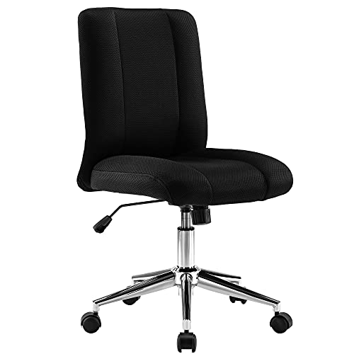 Armless Office Chair Swivel Desk Chair Velvet Ergonomic Task Chair Height Adjustable Computer Chair without Arms for Home Office Bedroom (Black)