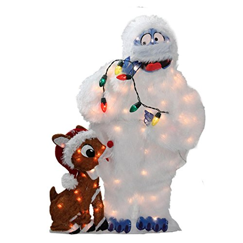 ProductWorks 32-Inch Holiday Décor Rudolph LED Pre-Lit 2D Yard Art with 80 Lights, Bumble