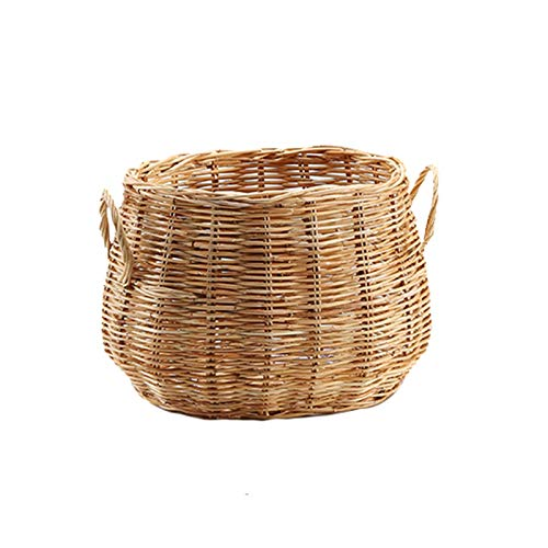 pot Handmade Rattan Large-Capacity Dirty Clothes Hamper with Handle, Toy Storage Basket Bathroom Flowerpot Cover