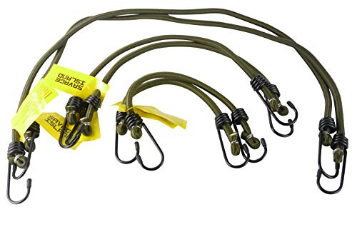 Savage Island Elasticated Bungees Cords Bungee Military Army Basha Straps Variety Pack - 2 x 12, 2 x 18 + 2 x 30 (Green)