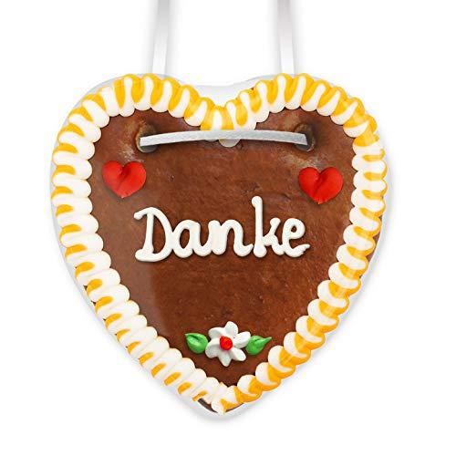Lebkuchenherz Danke - 10cm - Premium Qualität - Frisch & Saftig - Dankeschön Aus Lebkuchen - Lebkuchenherzen Danke Bestellen LEBKUCHEN WELT
