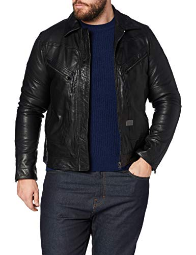 G-STAR RAW Air Force Slim Chaqueta de Piel, Dk Black B508-6484, M para Hombre