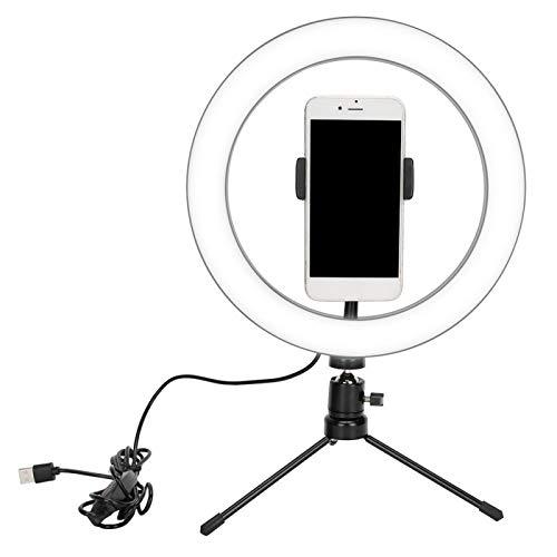 Anillo de luz LED de 10 '' con soporte y soporte para teléfono, anillo de luz LED regulable para fotografía/maquillaje/vlogging/transmisión en vivo
