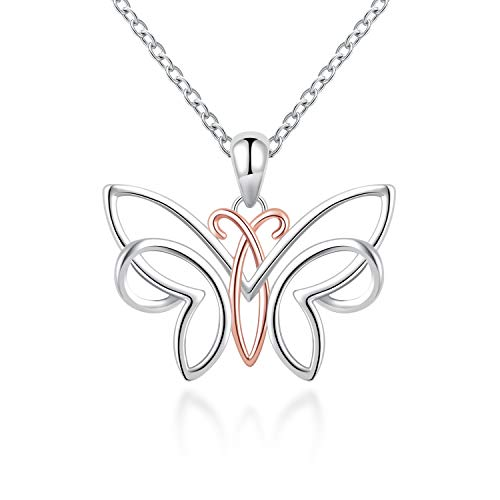 S925 Sterling Silver Women Necklace Dainty Irish Celtic Butterfly Pendant Necklace Jewelry Gift for Teen Girls Mom Ladies