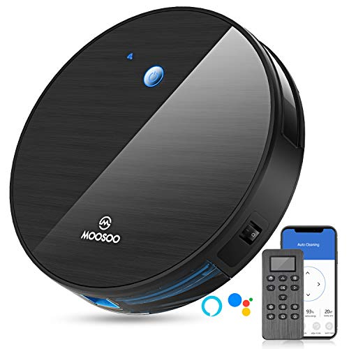 MOOSOO Robot Vacuum Cleaner, 1800Pa Automatic Self-Charging WiFi Robotic Vacuum, Super-Thin, Ideal for Pet Hair,Hard Floor and Low Pile Carpet-MT501