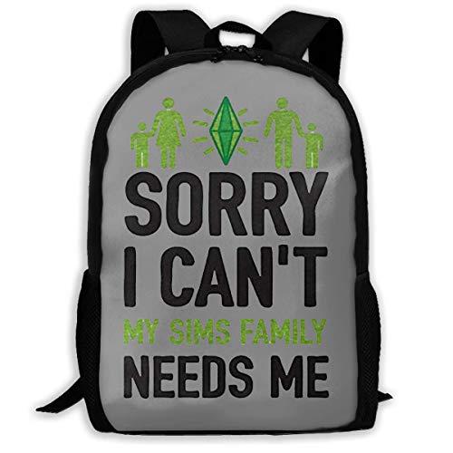 Leichter Rucksack mit Aufschrift Sorry I Can't My Sims Family Needs Me, wasserabweisend, für Reisen, Laptop, 43,2 cm (17 Zoll)