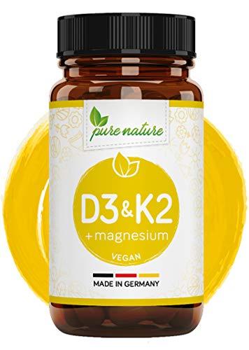 Organisches Vitamin D3 K2 + Magnesium Komplex | Hochdosiert 3000 IE pro Tablette I 120 Tabletten I Vegan I D3 aus Flechten | K2 MK7 aus Natto - Magnesium natürlich