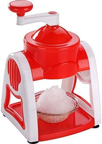 FINIVIVA Manual Ice Gola Slush Maker Ice Snow Maker Machine for Home, Ice Barf Crusher Cutter Set with 3 Bowl, 1 Glass, 6 Sticks and 1 Dish - Plastic (Standard Size)