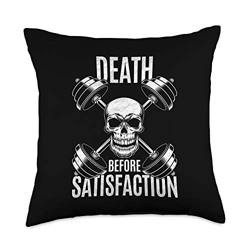 The Fitness Gym Workout Company Death Before Satisfaction Bodybuilder Throw Pillow, 18x18, Multicolor -  2A1J2050F34US_18X18