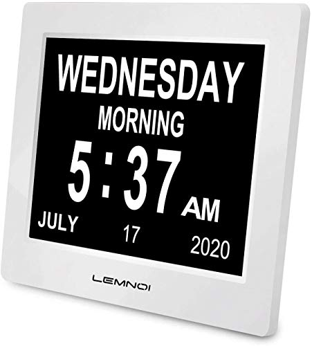 Lemnoi Seniorenuhr, Demenz Uhr, Digitaler Kalender, Wecker Digital mit Datum und Wochentag für Demenzkranke (Z.B. Alzheimer), Senioren, Sehbehindert, Kleines Kind - 7,5 Zoll