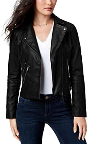 CoffeeShop Juniors' Faux-Leather Moto Jacket - Black- Size XL