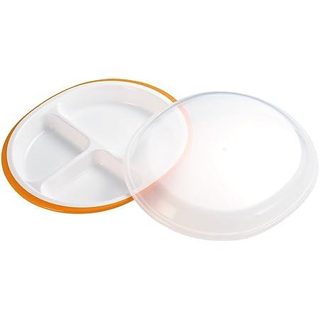 小森樹脂 食器 弁当 楽弁 フード付き ランチプレート 丸型 オレンジ 25.5×21.5×高さ5cm 日本製 食洗機 レンジ 対応