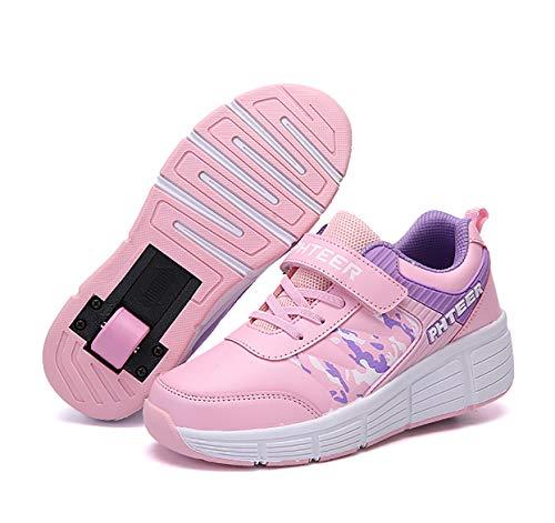 INSISTON Kinder Schuhe mit Rollen, Roller Skate Schuhe Sneakers, Blinken Skateboardschuhe, Outdoorschuhe Gymnastik Mode Turnschuhe, für Kinder Mädchen Junge Erwachsene,Rosa,34
