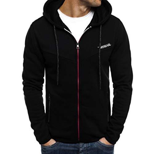 Dasongff heren sweatjack hoodie jack met capuchon sweatshirt capuchon ritssluiting mannen lange mouwen cardigan mantel met capuchon contrast patchwork jogging pak sportswear X-Large zwart