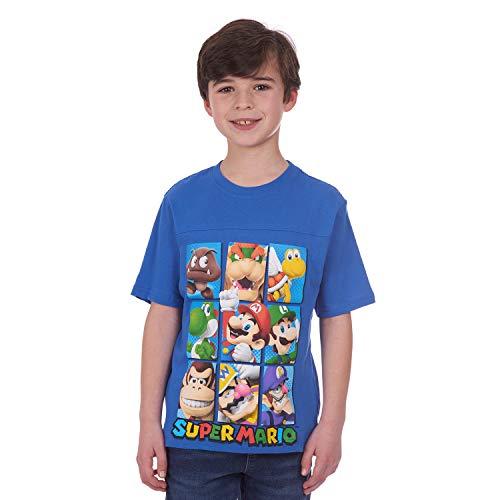 Nintendo Boys' Big Super Mario Characters T-Shirt, Blue, 10-12