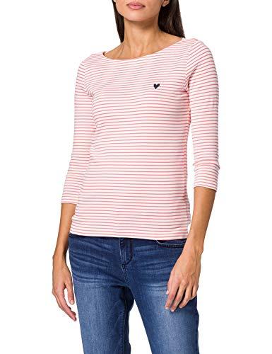 TOM TAILOR Damen 1024035 Stripe T-Shirt, 26034-White Peach Small, M