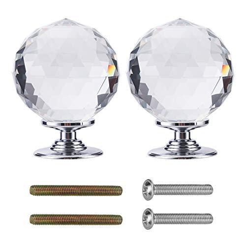 Pomelli in cristallo per cassetti e armadi , a forma di diamante trasparente per mobili e guardaroba, sfaccettato, con vite e accessori per armadietti, confezione da 2 diametro 60 mm