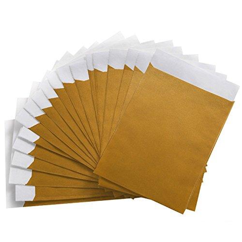 Logbuch-Verlag 25 Papiertüten gold Gastgeschenk Verpackung 13 x 18 cm Geschenktüte Wundertüte Tüte Papier Flachbeutel Weihnachten flach Hochzeit vintage