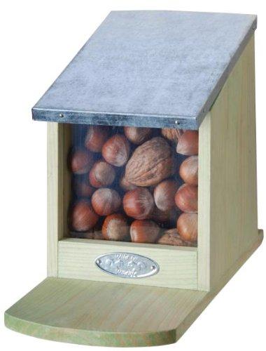 Mangeoire pour écureuil avec couvercle en métal pliable sans noix Env. 12 x 17,5 x 22,5 cm