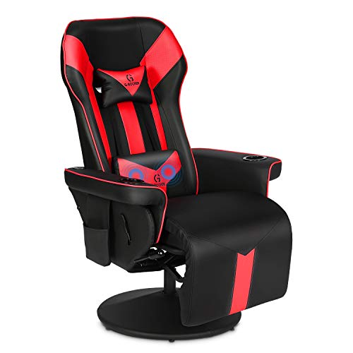 G-ROCKER King Throne Video Gaming Recliner Chair, Ergonomic High Back Swivel Reclining Chair with Bluetooth Speakers, Massage Lumbar Support, Backrest, Footrest, Headrest and Cupholder, Black Red