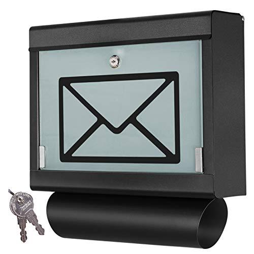 Grafner Design Edelstahl Briefkasten mit Glasfront und Zeitungsfach, schwarz pulverbeschichtet, abschließbar – 2 Schlüssel inkl, moderne eckige Ausführung, einfacher Anbau, inkl. Montagematerial