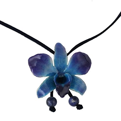 """NOVICA Natural Orchid and Sodalite Long Lariat Necklace, 34.5"""", Midnight Blue"""