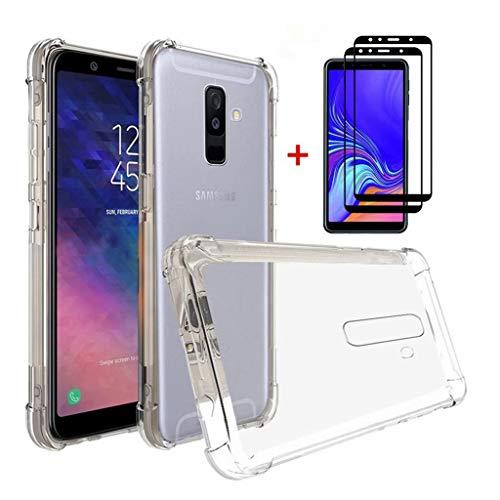 FHXD Compatible con Funda Samsung Galaxy A6 Plus 2018 Transparente TPU Silicona Cubierta Cover Protectora [2*Película de Vidrio Templado] Suave Anticaída de Cojín de Aire Case Protectora