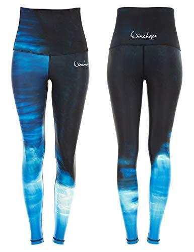 WINSHAPE Damen Functional Power Shape Jeans Tights Leggings High Waist HWL102, Water, Slim Style, Fitness Freizeit Sport Yoga Workout, blau, XXL