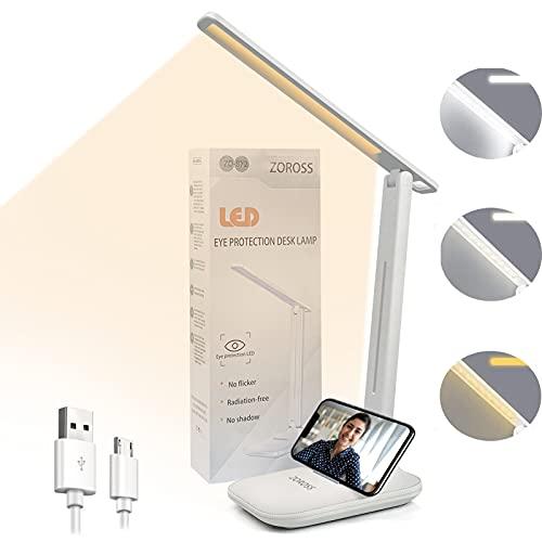 Lámpara Escritorio LED, Flexo LED Escritorio,Flexo de Mesa con 3 Modos y Brillo Regulable con Cargador USB, Control Táctil y Plegable,Bajo Consumo,Anti Fatiga,para Leer,Estudiar