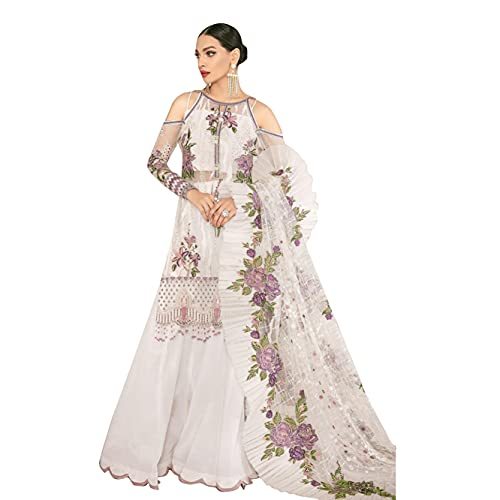Miss Ethnik Women's Faux Georgette Semi Stitched Top With Bottom and Dupatta Embroidered Dress Material Straight Kurta (Pakistani Salwar Suit)