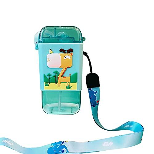 QIUTIANQ Taza De Paja Taza De Agua Portátil para Bebé Taza De Helado Puede Llevar Helado Cuadrado Taza De Agua Botella De Agua para Niños Forma De Helado única Taza De Agua (Azul)