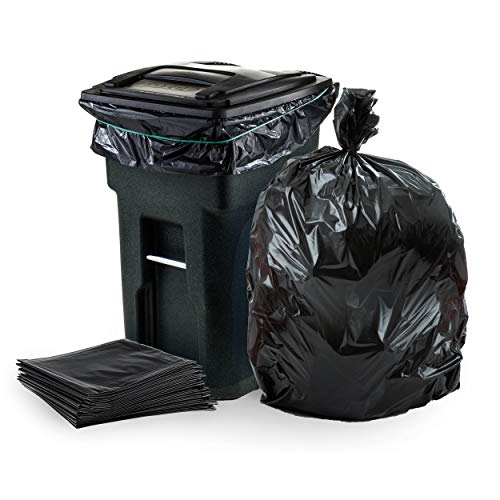 "Plasticplace - W65LDBTL 64-65 Gallon Trash Can Liners for Toter │ 1.5 Mil │ Black Heavy Duty Garbage Bags │ 50"" x 60"" (50 Count)"