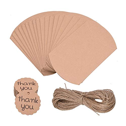 ZHHO 20pcs Candy Box Kraft Paper Pillow Shape Wedding Favor Pie Party Bags Eco Friendly Packaging Crafts Packing (Color : Kraft with tag rope)
