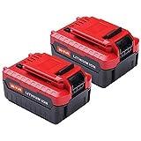 2Pack 6.0Ah 20V for Porter Cable Lithium Battery, High Capacity Replacement Battery for Porter Cable PCC685L PCC682L PCC685LP PCC680L PCC600 PCC640