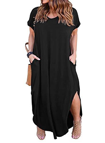 Nemidor Women's Casual Loose Pocket Long Dress Short Sleeve Plus Size Slit Maxi Dress (16W, Black)